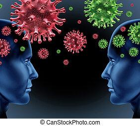 contagioso, doença, infecção