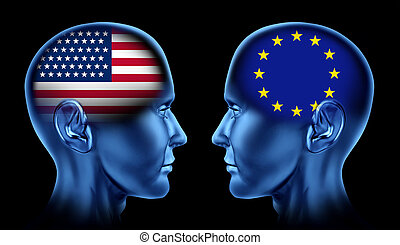 U.S.A and Europe trade relations symbol represented by two...