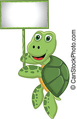 cute cartoon turtle with blank sign - vector illustration of...