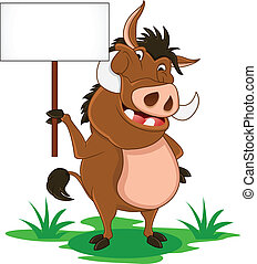 warthog cartoon with blank sign - vector illustration of...