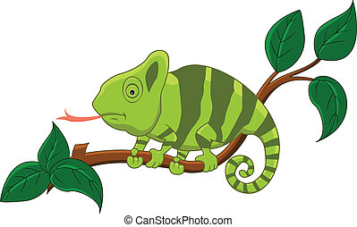 cute cartoon chameleon - vector illustration of cartoon...
