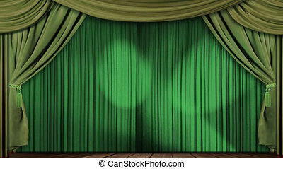 theatre curtains fabric green - High definition clip of an...