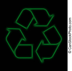 neon recycle sign - Abstract stylised neon recycle sign on...