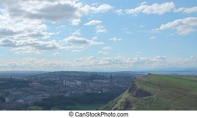 View of Arthurs Seat and the city of Edinburgh in a sunny...