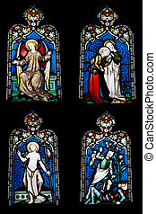 Religious stained glass windows - collection of 4 religious...