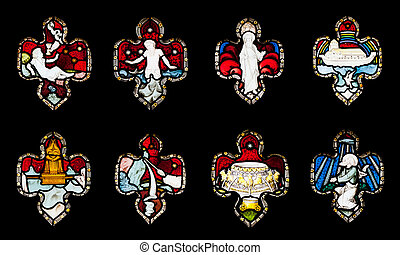 Religious stained glass windows - collection of 8 religious...