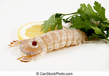 mantis shrimp with lemon and parsley