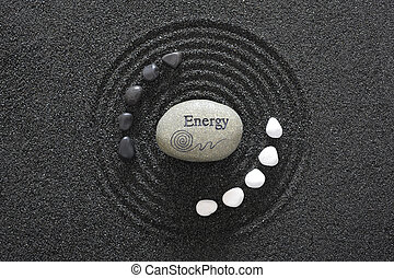 stone of energy in zen garden