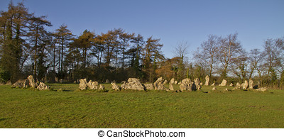 The Kings Men neolithic stone circle, Cotswolds, UK - The...