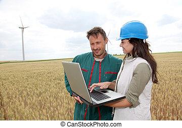 granjero, ingeniero, trigo, campo, viento, turbinas, Plano...