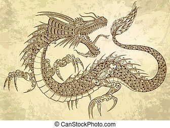 Henna Tattoo Dragon Doodle vector - Henna Tattoo Dragon...