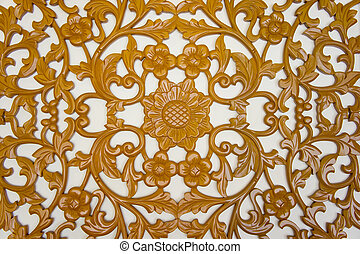 filigree wood carvings on isolated background