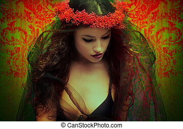 fantasy woman with wreath of flowers - fantasy woman with a...