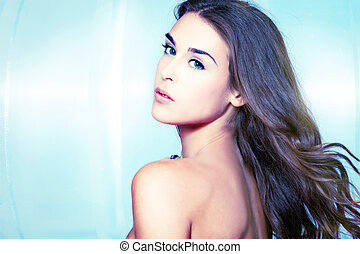 blue eyes beauty - blue eyes young woman portrait studio...