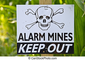 Land Mine Warning Sign - Land mine keep out warning sign