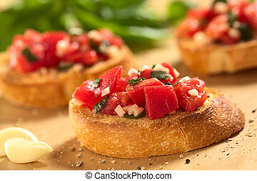 Bruschetta with Tomato and Garlic - Fresh homemade crispy...