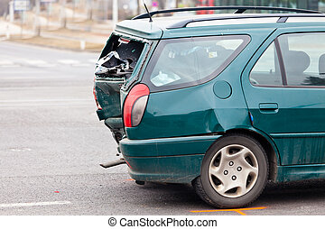 body damage in car accident - a sheet metal damage after a...