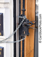door secured with chain