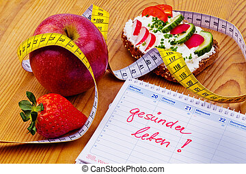 good resolution for healthy diet - apple, tape measure,...