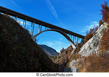 highway bridge - the high bridge on a highway below. tauern...