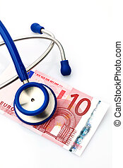 stethoscope and euro banknote - a stethoscope and a ten euro...