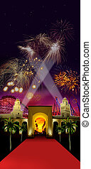 amusement park celebration - Amusement park with an...