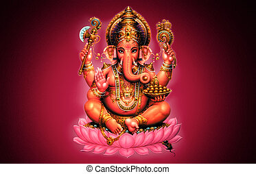 Ganesh - Illustration of Ganesh on red background - Indian...