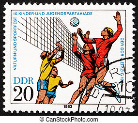 Postage stamp GDR 1983 Volleyball - GDR - CIRCA 1983: a...