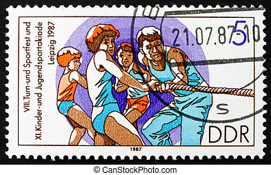 Postage stamp GDR 1987 Tug of War, Rope Pulling - GDR -...