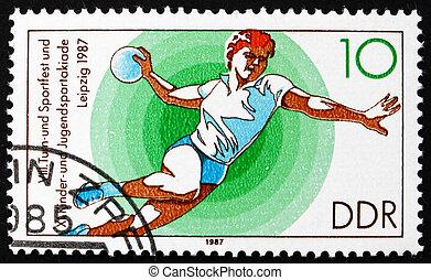 Postage stamp GDR 1987 Handball - GDR - CIRCA 1987: a stamp...