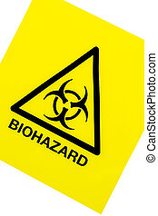 Biohazard warning sign on a white background
