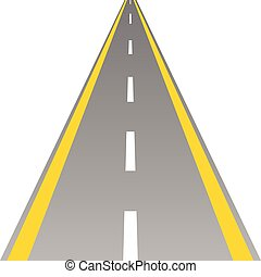road with yellow and white line illustration