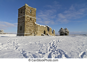 Knowlton Church in Winter - The ruins of Knowlton Church in...