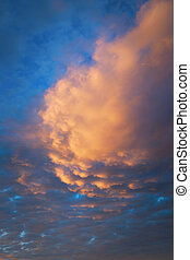 colorful sky with clouds in orange and blue