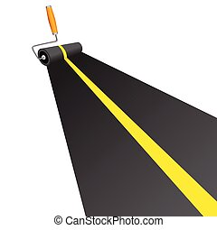 roller painting road with yellow line vector illustration