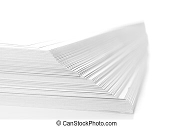 stack of paper - stack of flyers on white background