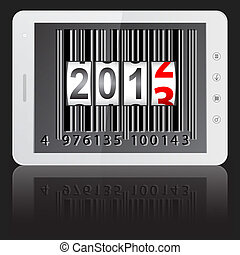 White tablet PC computer with 2013 New Year counter