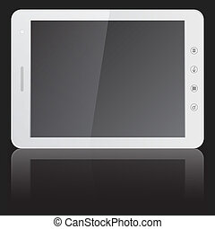 white tablet PC computer  isolated on black background.