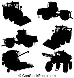 Agricultural vehicles silhouettes set.