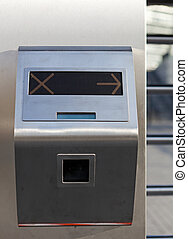 Security turnstile on stadium - This is closeup of security...