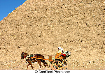 Pyramids of giza in Cairo - Giza pyramids with a blue sky...