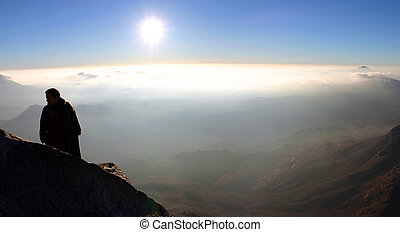 View from Mount Sinai - Man standing and looking at the...