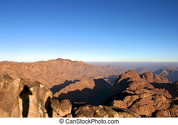 Two shadows in the Mont Sinai in Egypt early in the morning...