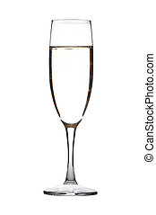 Glass with Champagne isolated on white background