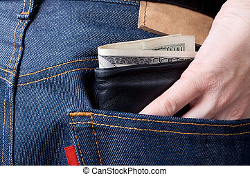 This is wallet sticking out of pocket