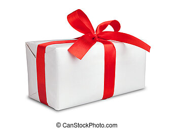 White box with a red ribbon and bow - This is White box and...