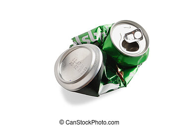 Crumpled Aluminum can isolated on white background