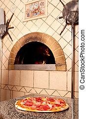 delicioso, pizza, madera, encendido, tradicional, horno
