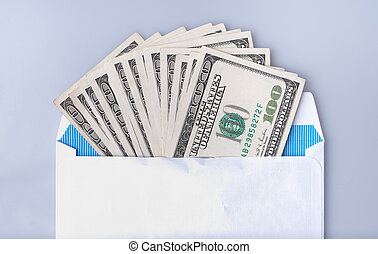 Dollars banknote in the envelope