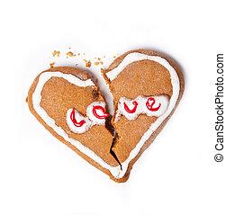 coeur, biscuits, isolé, blanc, cassé